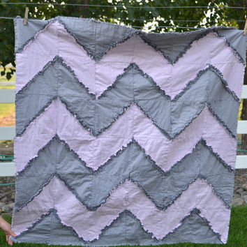 Gray and Pink Chevron Rag Quilt, Toddler Bedding, Baby Blanket, 1 Day Shipping