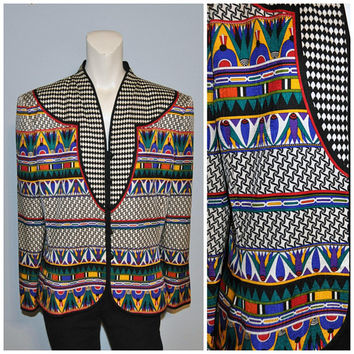 Vintage 1990's Adrianna Papell Collarless Silk Blazer Jacket Patterned Geometric Pattern Abstract Colorful Size 16 Plus Size Shoulder Pads