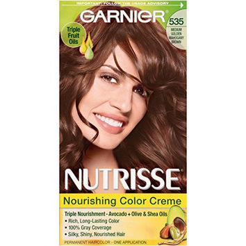 Garnier Nutrisse Nourishing Color Creme, 535 Medium Gold Mahogany Brown (Chocolate Caramel) (Packaging May Vary)