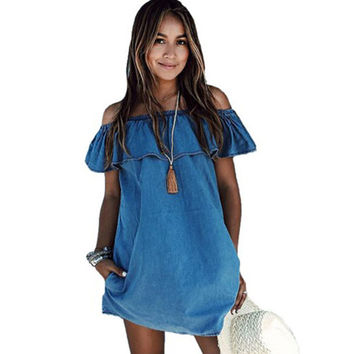 Sexy Loose Off Shoulder Beach Dress Summer Slash Neck Denim Dress Evening Party Short Mini Jean Dresses Blue Ruffled Cute Robes