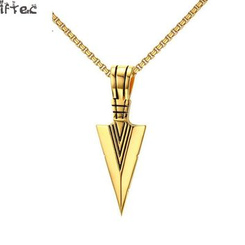 Iftec Striking Mens Necklaces Punk Spearhead Arrowhead Pendant Necklace For Men Special Surf Bike Jewelry Gold Color