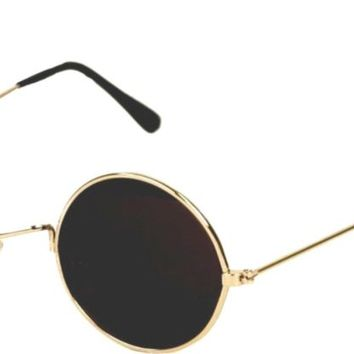 John Lennon Sunglasses Round Hippie Retro Gold Frame Super Dark Black Lenses