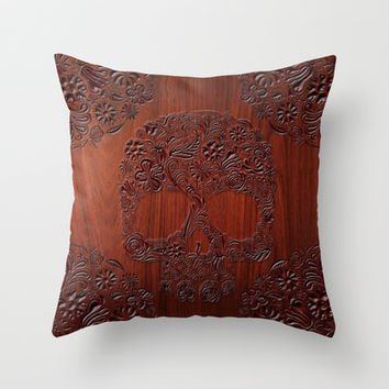 Wood Carved Sugar Skull flower pattern Throw Pillow case by Three Second