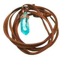Aqua Aura Choker Wrap Necklace