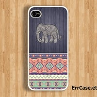 The Tribal Elephant on Dark Wood and Seamless Aztec Design Case : Iphone 4/4s case Iphone 5 case