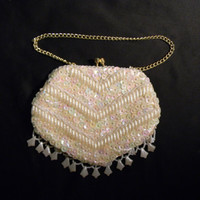 Hand Made in Hong Kong, Vintage Sequin Evening Bag, White