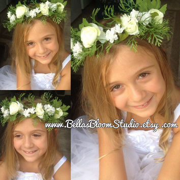 White Wedding Flower Crown flower girl crown toddler Flower Crown Flower girl crown etsy