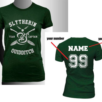 Custom Name and Number on back, Slytherin Quidditch team Captain White print on Forest Green Women tee