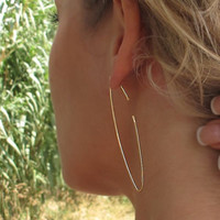 Narrow Hoop Earrings, Thin Open Hoops, Elegant Jewelry, Marquise Earrings - Narrow Earrings - Modern Earrings - Summery Earrings - Fashon