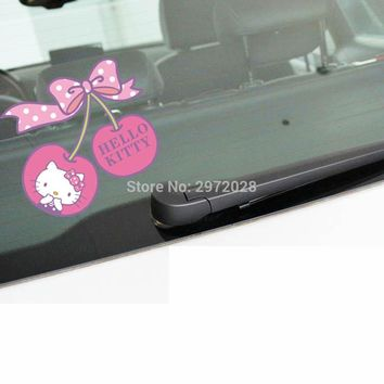 Funny Lovely Car Styling Pink Cherry With Bowknot Hello Kitty Decorations Car Body Sticker Waterproof Pattern Vinyl Decal
