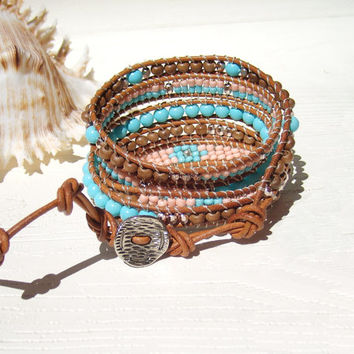 Leather Wrap Bracelet  Bohemian Jewelry Turquoise Pink  Bracelet 5x Wrap Bracelet Leather Jewelry Hippie Boho Wrap Bracelet Pastel Bracelet