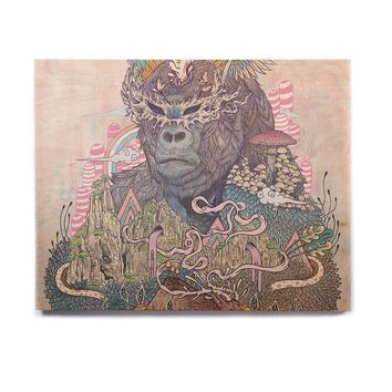 "Mat Miller ""Ceremony"" Fantasy Gorilla Birchwood Wall Art"
