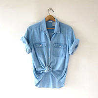 Vintage short sleeve denim shirt. Faded jean shirt. Button up pocket shirt. Slouchy denim shirt.