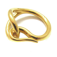HERMES, square scarf ring, Jumbo model made with gold-tone metal