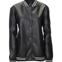 Aeropostale  Womens Faux Leather Varsity Jacket - Black