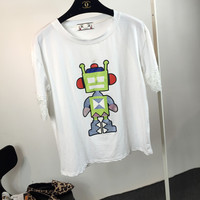 Robot Printed  Lace Cuffs Short Sleeves T-Shirt