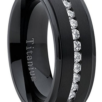 Black Titanium Men's Eternity Wedding Band Ring with Cubic Zirconia CZ, Comfort Fit 8mm