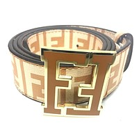 Fendi Belt | Size 40 or 100cm | Beige Leather | Caramel Buckle | FF Zucca