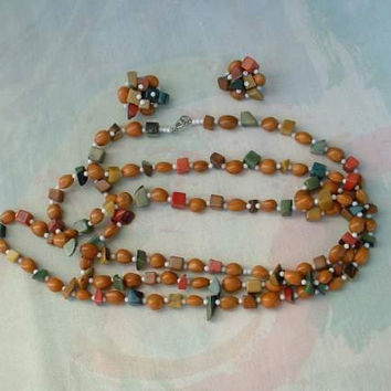 JAPAN Flapper Length Bead Necklace Clip Earring SET Vintage Jewelry