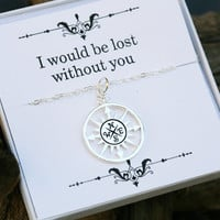 compass necklace with message card,Infinity compass necklace,Friendship necklace,Graduation gift,best friends,bridesmaid gifts