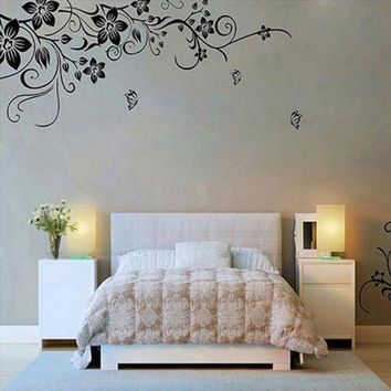 DCCKU7Q 2016 New Wall Stickers Home Decor wall stickers Flowers and Vine Hee Grand Removable Vinyl adesivo de parede Mural Decal Art