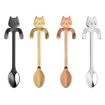 Stainless Steel Cat Deisgn Coffee Spoon