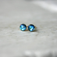Limited Edition Galaxy Studs: 3mm or 4mm, Turquoise