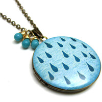 Bright Blue Rain Drop XL Handpainted Brass Locket with Blue Czech Glass Drops 14K Gold Wire