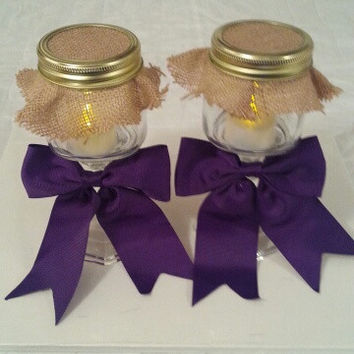 Burlap and purple wedding candle jar / center piece set. Any color to match your wedding