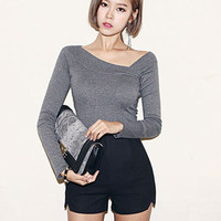 'The Donna' Gray Long Sleeve Fitted Top