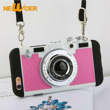 NEWOER Cases For iPhone 6 Plus Silicone Phone Case 5.5 inch Camera Pattern Cases For iPhone 6S Plus