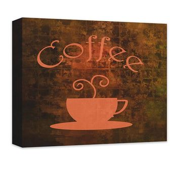 Coffee Cup Word Art Canvas Wall Art