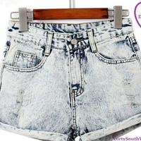 Super Cute High Waisted Grey Trendy Denim Shorts!