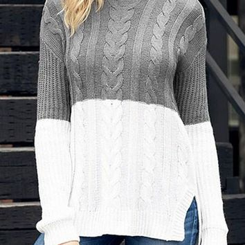 Women Gray White Colorblock Cable Knit Sweater