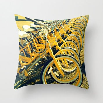 Bikes Pillow | Yellow Beach Cruisers Photography | Decorative Throw Pillow Cover | Color Photography | Bicycle Print | ModernBeach