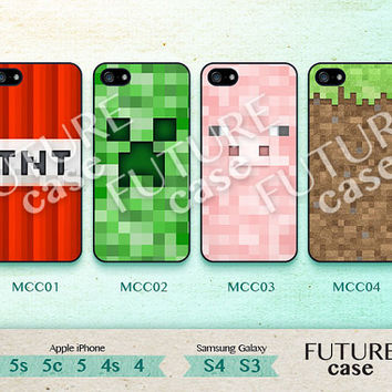 Minecraft iPhone 4s case Minecraft Creeper iPhone case iphone 4 case iphone 4s case iphone 5 case Hard or Soft Case-MCC01