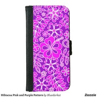 Hibiscus Pink and Purple Pattern Wallet Phone Case For iPhone 6/6s