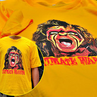 Handmade Manual Print Man yellow Tee Tshirt - Cool screaming Wrestling Warrior with painted face tee t-shirt