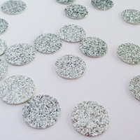 "100 Silver Glitter Circle Confetti - 1/2"" - Confetti for your wedding, bridal shower, bachelorette, birthday party, baby shower"