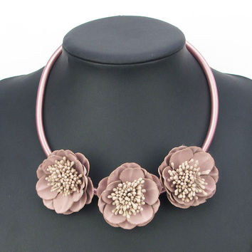 2016 New Handmade 5 color Fabric Flower Elegant Statement Choker Necklace Leather Fashion Jewelry Pendants Girl Christmas Gift