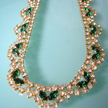 Emerald Choker, Green Rhinestone Necklace, Vintage Bridal, 1950s Jewelry, Bridal Necklace, Wedding Jewelry, Green Diamante Choker, Gatsby
