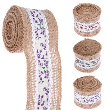 2M/Roll Jute Burlap Natural Hessian Ribbon Roll Table Runners Wedding Party Chair Bands Vintage Home Decor 3 Colors