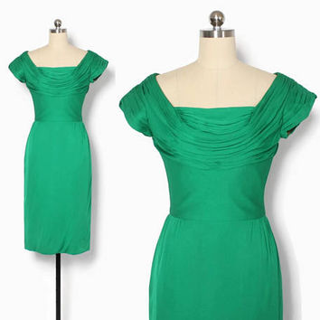 Vintage 60s Cocktail DRESS / 1960s Bright Green Draped Bombshell Wiggle Dress S
