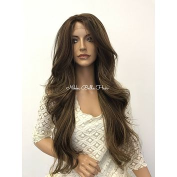 Ash Brown Balayage' Human Hair Blend 4x4 Deep Multi Parting Lace Front Wig -  Melania