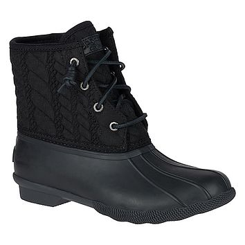 Women's Saltwater Rope Embossed Duck Boot in Black by Sperry - FINAL SALE