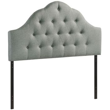 Contemporary Upholstered, Deep Button Tufted, Arched Padded Fabric or Vinyl Headboards