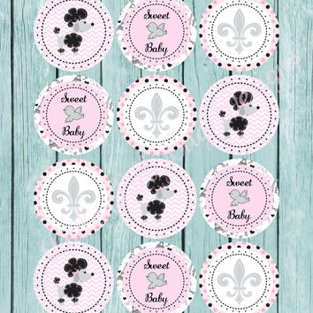 Paris Theme Cupcake Toppers, Pink and Black, Paris Poodle, Baby Shower, Wedding Shower, Thank You Tags, Favor Tags, birthday, diy, Printable