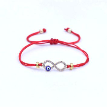 Trendy Silver Color Alloy Digital 8 Infinity Evil Eye Bracelet Red Thread Rope String Braid Bracelets For Women Mujer Friend