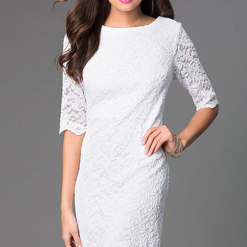 Short Lace Dress with Half Sleeves