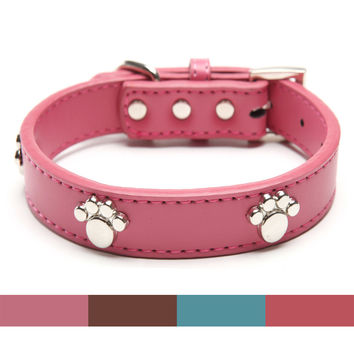 Designer Genuine Real Leather Paw Studded pet Dog Collars 2015 Popular for Pet Puppy Dog Small Medium Large Collar Free shipping